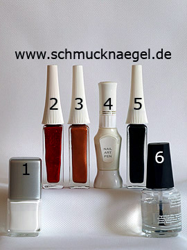 Products for the Christmas cookie with nail lacquer - Nail polish, Nail art liner, Nail art pen