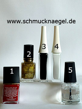 Products for the fingernail decoration in red and gold-glitter - Nail polish, Nail art liner