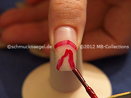 Nail lacquer in the colour dark red