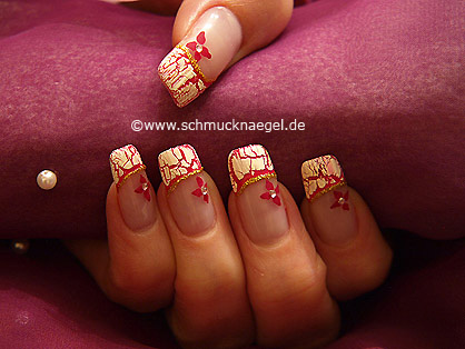 French Motif With Crackle Nail Polish In White Nail Art Designs