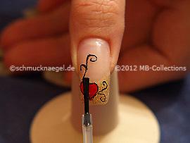 The clear nail polish protects the nail art
