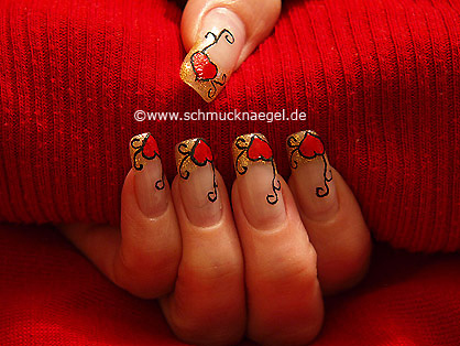 Valentine's day heart motif with nail polish