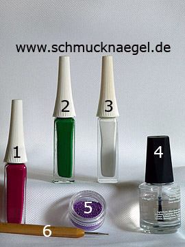 Products for the flower motif with nail art bouillons in purple - Nail art liner, Nail art bouillons, Spot-Swirl