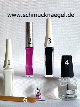 Products for the nail art motif with sequins in lavender and nail art liner - Nail art liner, Sequins, Spot-Swirl