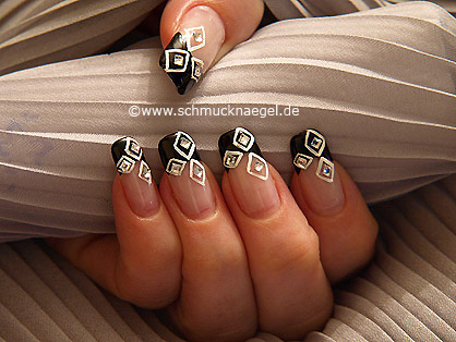 Rhombs fingernail motif with strass stones