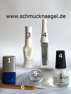 Products for the French design fingernail motif with strass stones - Nail polish, Nail art pen, Nail art liner, Strass stones, Spot-Swirl