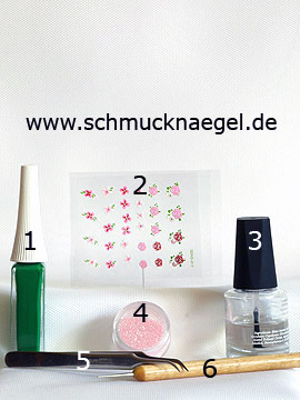 Products for the fingernail design with flowers sticker - Nail art liner, Nail sticker, Glitter-Powder, Spot-Swirl