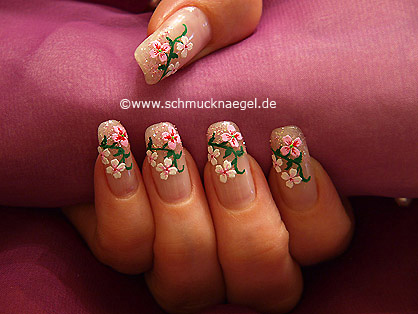 Fingernail design with flowers sticker