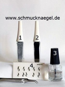 Products for the motif 'Ornament sticker with strass stones in crystal' - Nail art liner, Nail sticker
