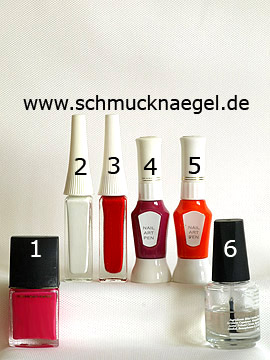 Products for the cupcake as fingernail design with nail lacquers - Nail polish, Nail art liner, Nail art pen