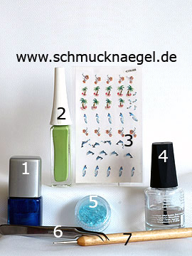 Products for the motif with 3D dolphin nail sticker and crushed shells - Nail polish, Nail art liner, 3D nail Sticker, Crushed shells, Spot-Swirl
