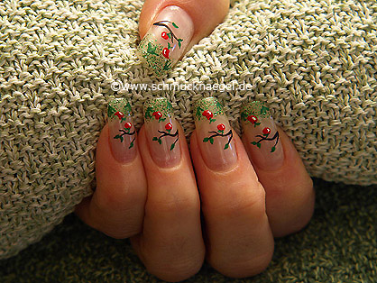 Autumn apples with glitter nail lacquer