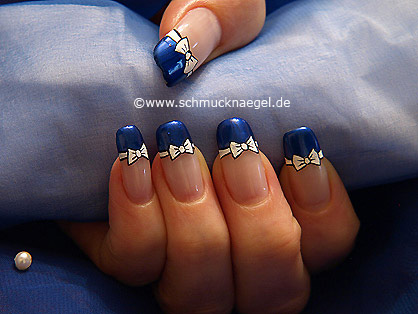 Bow Tie With Nail Lacquer As French Motif Nail Art Designs