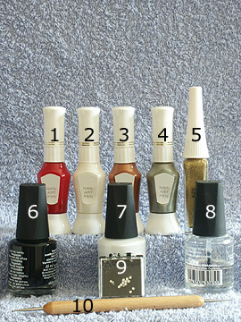 Products for full cover party motif - Nail polish, Strass stones, Nail art liner, Nail art pen, Spot-Swirl, Clear nail polish