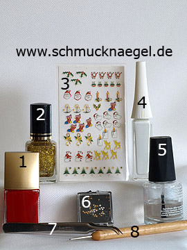 Products for the fingernail Christmas motif with Santa Claus sticker - Nail polish, Christmas sticker, Nail art liner, Strass stones, Spot-Swirl