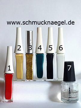 Products for the Christmas poinsettia as fingernail motif - Nail art liner