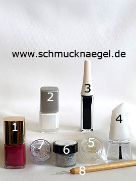 Products for the motif with glitter-powder in silver and stellar strass stone - Glitter-Powder, Nail polish, Nail art liner, Strass stones, Spot-Swirl