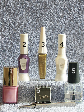 Products for motif French with strass stone - Nail polish, Strass stones, Nail art liner, Nail art pen, Clear nail polish