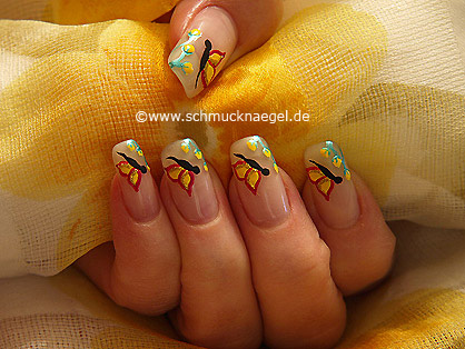 Butterfly springtime motif as fingernail design
