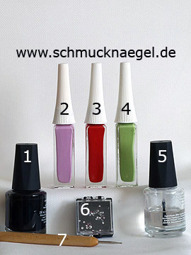 Products for the flowers design with nail lacquer and strass stones - Nail polish, Nail art liner, Strass stones, Spot-Swirl