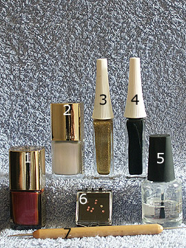 Products for nail art in bronze and pearl - Nail polish, Strass stones, Nail art liner, Spot-Swirl, Clear nail polish