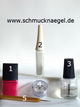 Products for the French motif for art of nail - Nail polish, Nail art liner, Strass stones, Spot-Swirl