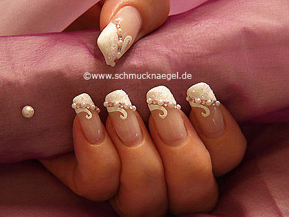 Wedding motif with nail art half pearls