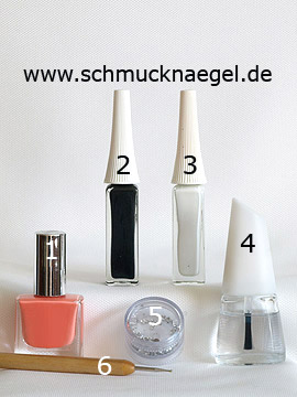 Products for the salmon colored fingernail motif with strass stone - Nail polish, Nail art liner, Strass stones, Spot-Swirl