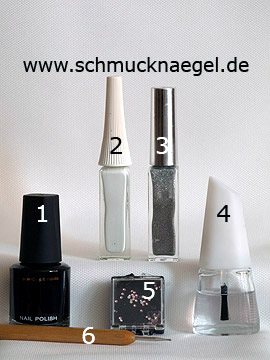 Products for the feather nail art motif with strass stones - Nail polish, Nail art liner, Strass stones, Spot-Swirl