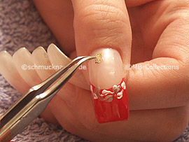 clear nail polish, tweezers and two inlay motifs