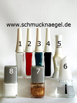 Products for the mushroom motif with nail art liner and lacquer - Nail polish, Nail art liner, Nail art pen