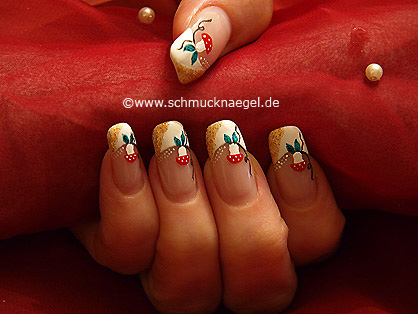 Mushroom motif with nail art liner and lacquer
