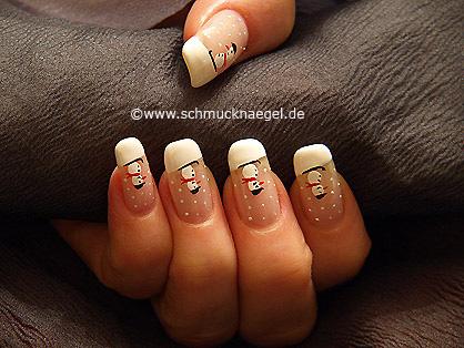 Snowman winter motif as fingernail decoration