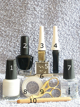 Products for party motif in black and white - Nail polish, Strass stones, Nail art liner, Spot-Swirl, Clear nail polish
