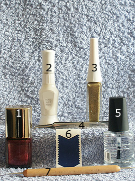 Products for the copper french motif - Nail polish, French manicure templates, Nail art liner, Nail art pen, Spot-Swirl, Clear nail polish