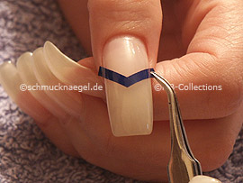 tweezers and French manicure template V-shaped