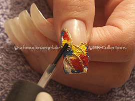 clear nail polish, strass stones in the colour crystal and spot-swirl