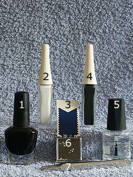 Products for black french motif - Nail polish, Strass stones, Nail art liner, French manicure templates, Clear nail polish