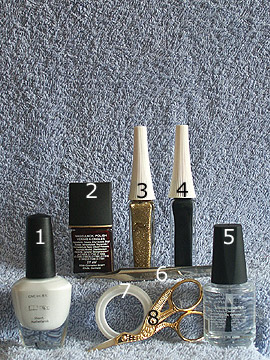 Products for full cover in dark-red and white - Nail polish, Nail art liner, Nail art pen, Clear nail polish