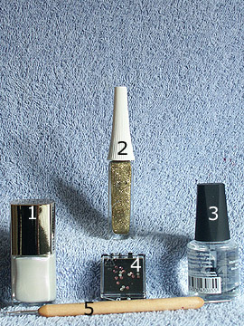 Products for motif wedding in pearl and white - Nail polish, Strass stones, Nail art liner, Spot-Swirl, Clear nail lacquer