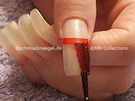 nail lacquer in the colour dark red with glitter