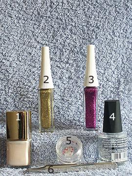 Products for wedding motif - Nail polish, Strass stones, Nail art liner, Clear nail polish