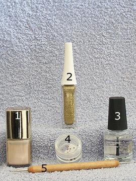 Products for motif wedding French design - Nail polish, Strass stones, Nail art liner, Spot-Swirl, Clear nail polish