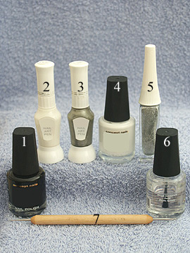 Products for nail design in black and white - Nail polish, Nail art pen, Nail art liner, Spot-Swirl or toothpick, Clear nail polish