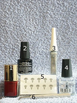 Products for full cover with nail sticker - Nail lacquer, Nail Sticker, Nail art liner, Clear nail polish