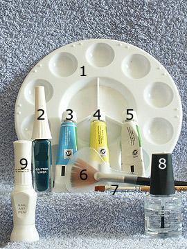Products for floral motif - Acrylic, Nail art liner, Nail art pen, Clear nail polish