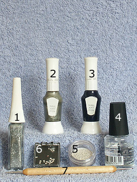 Products for party motif in silver - Nail art bouillons, Nail polish, Strass stones, Nail art liner, Nail art pen, Spot-Swirl, Clear nail polish