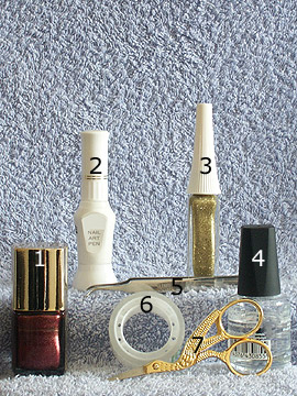 Products for corset party design - Nail polish, Nail art liner, Nail art pen, Clear nail polish