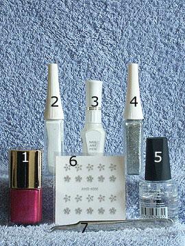 Products for motif full cover in dark-pink - Nail polish, Nail art liner, Nail art pen, Nail Sticker, Clear nail polish