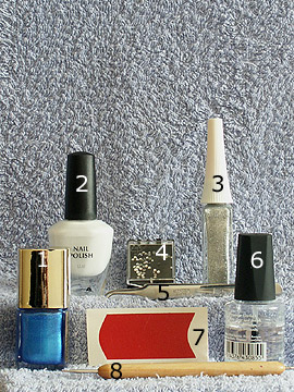 Products for motif French in blue white - French manicure templates, Nail polish, Nail art liner, Strass stones, Spot-Swirl, Clear nail polish